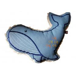 Wal Kissen gestickt groß als Kuschelkissen Fisch für Kinder