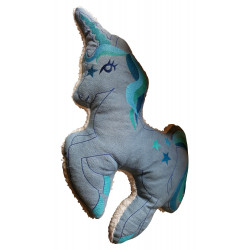 Pillow large light blue unicorn cushion stuffed animal embroidered