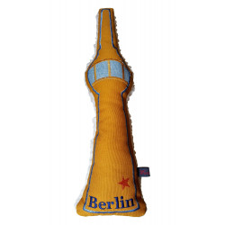Pillow embroidered Fernsehturm Berlin yellow cushion space needle Alexanderplatz Germany
