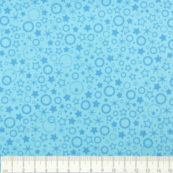 light blue cotton fabric printed little circles and stars  Patrick Lose fabrics small motives