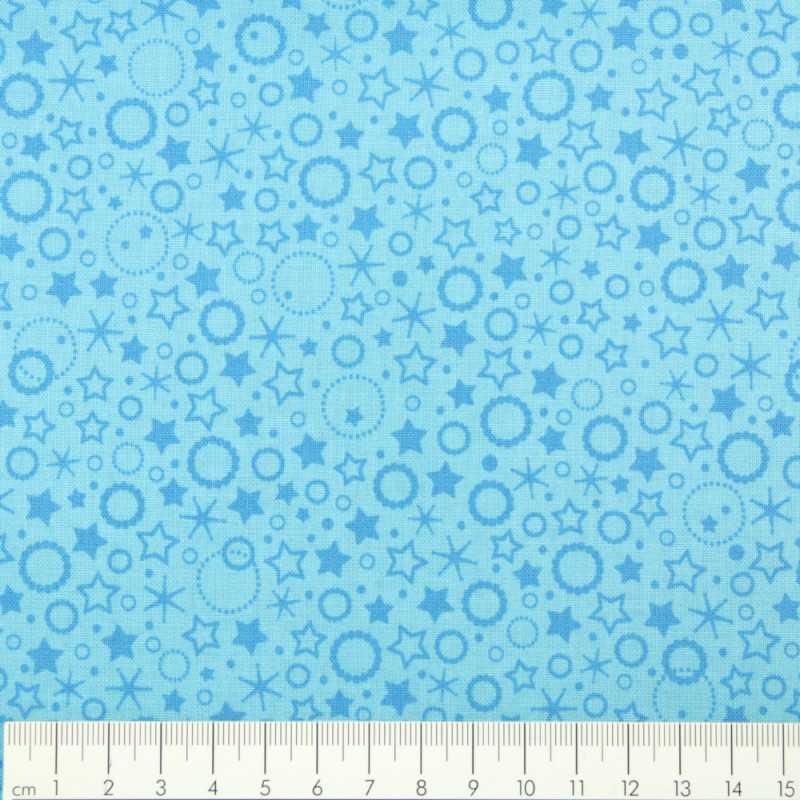 light blue cotton fabric printed little circles and stars  Patrick Lose fabrics small motives