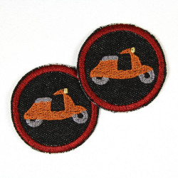 Bügelbilder patches Roller orange auf Jeans schwarz 5cm im Set