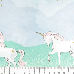 Michael Miller fabrics unicorn as curtain or drape cotton