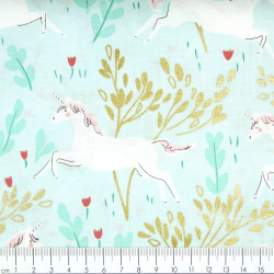 cotton fabrics golden flowers and unicorns for girls