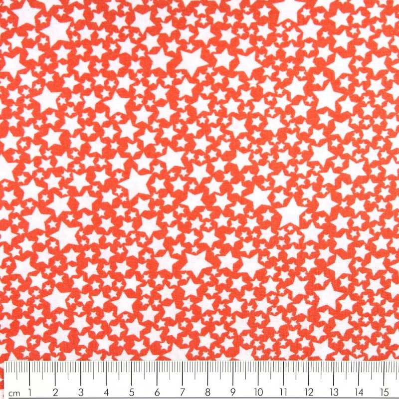 Michael Miller fabrics stars white coral patchwork quilting cotton fabric