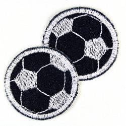 Bügelflicken Fußball rund auf Jeans blau 5cm Flicken Doppelpack