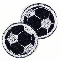 Flickli - the patch! round with soccer on blue denim