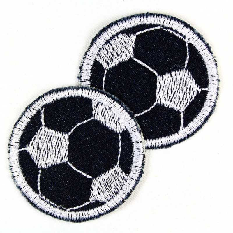 Iron-on patches football round on jeans blue 5cm patch double pack