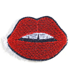 patches red mouth jeans  iron on badges
