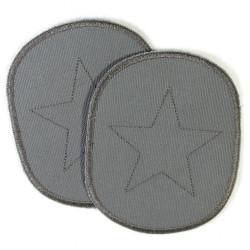 Flicken groß mit Stern auf grau Canvas 2 als Knieflicken geeignete große Bügelflicken zum aufbügeln