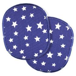 Flicken zum aufbuegeln Set XL retro Knieflicken 12x 10 cm Sterne auf dunkelblau Hosenflicken 2 Stück Buegelflicken große Patche