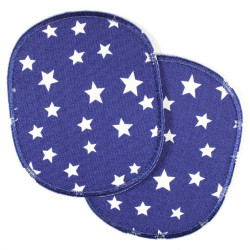 Flickli - the iron on patch! XL set retro stars white on dark blue iron-on- badges big for children