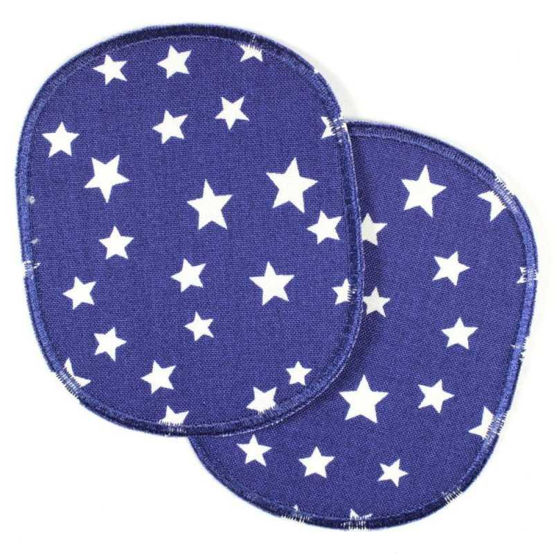 Flickli - the iron on patch! XL set retro stars white on dark blue iron-on- badges big for children