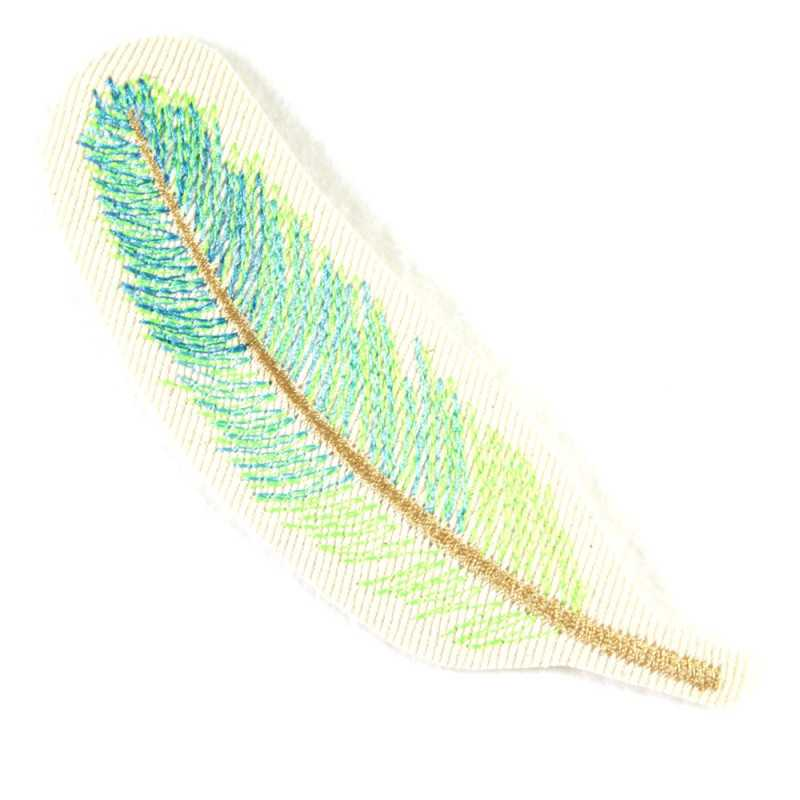 iron on patches feather neon green embroidered applique and accessory