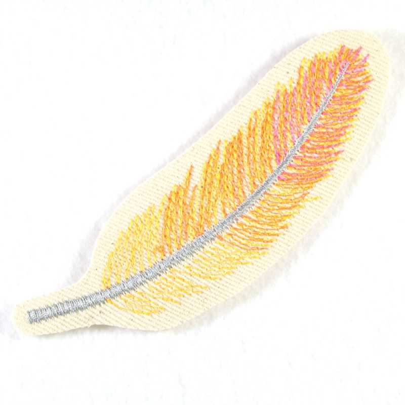 feather 13,3 x 4,3cm orange yellow neoncolors iron on patches embroidery applique accessory