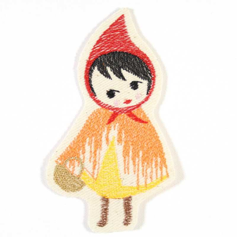 fairytale little red cap iron on patches embroidery applique neon colors