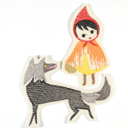 iron on patches Red Riding Hood and wolf fairytale embroidery applique 12,5 x 7 cm