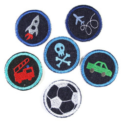 Iron-on Patches appliques 6 accessories 5cm Rocket Plane Skull Car Fire truck Football