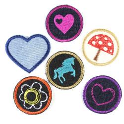 Bügelbilder Paket Aufbügler Mädchen 6 Flicken 5cm Herz Blume Pferd Pilz zum aufbügeln Bügelflicken Set
