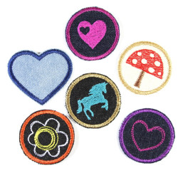 Iron-on Patches appliques 6 accessories 5cm heart flower pony mushroom for girls