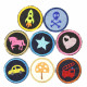 Iron-On Patch appliques Girl & Boy 8 accessories 5cm Rocket Horse Skull Car Fire truck Star Heart mushroom