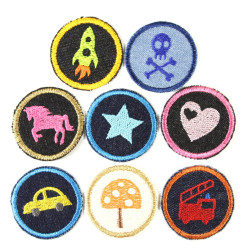 Iron-on patches children 8 patches 5cm rocket Horse Skull Car Fire truck Star Heart mushroom