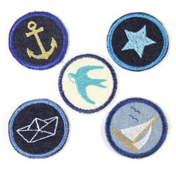Bügelbilder Set Aufbügler maritim 5 Flicken 5cm Anker | Stern | Segelschiff | Schwalbe | Boot Flicken zum aufbügeln Jeans