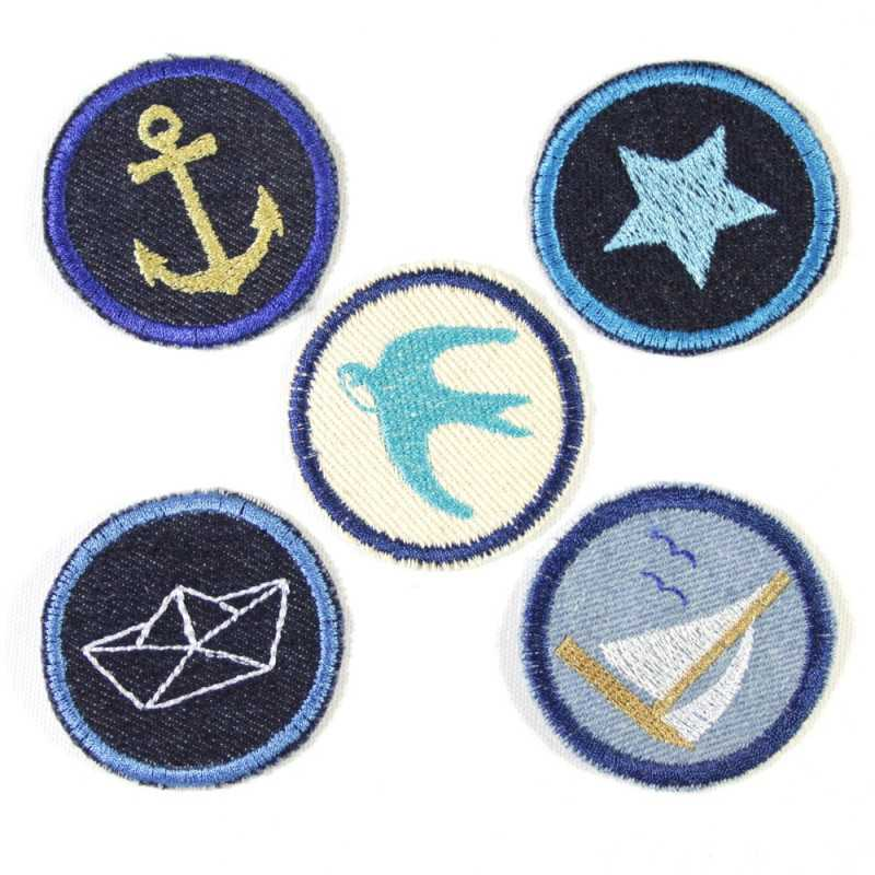 Iron-on patch set of maritime stickers 5 patches 5cm anchor | Star | Sailing ship | Swallow | Boat appliques to iron jeans