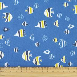 cosmo fabrics printed blue fish cotton japanese design canvas