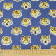 cosmo fabrics printed blue tiger cotton japanese design canvas tiger and cat head