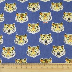 Stoffe Tiger cosmo Baumwollstoff Canvas blau japanische Stoffe Tigerkopf große Katzen für Kinder