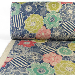 cosmo fabrics printed flowers light blue cotton linen canvas strong quality
