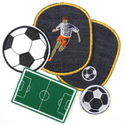 Bügelbilder XL Set Aufbügler Junge 5 Flicken groß Fußball | Fußballplatz | Fußball klein | Fußballer zum aufbügeln