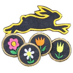 Bügelbilder Hasen Frühlings Set 5 Aufbügler 4 runde Blumen Flicken 5cm Tulpen Blümchen Margeriten und Jeans Häschen Patch