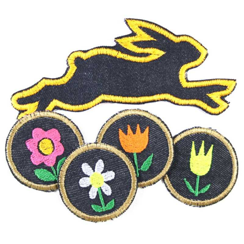Iron-on patches rabbits spring set 5 patches 4 round flowers patches 5cm tulips flowers margarites and jeans rabbit patch