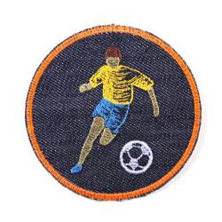 jeans Bügelbild rund Aufbügler rund für Jungen Flicken zum aufbügeln Fußball Fußballer Fußballspieler