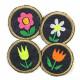 Bügelbilder für Mädchen Blumen Strauß 4 Flicken 5cm Aufbügler kleine Bügelflicken rund mit Blümchen
