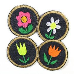 Bügelbilder Blumen Set 4 Flicken 5cm Aufbügler kleine Bügelflicken rund mit Blümchen