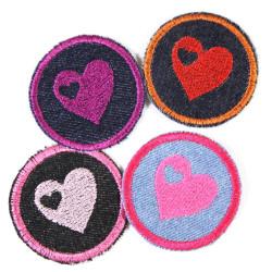 Bügelbilder Herz Set 4 Flicken 5cm Aufbügler kleine Bügelflicken rund mit Herzchen