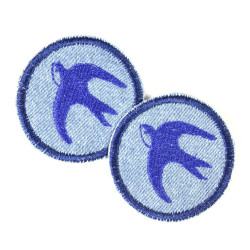 2 iron on patches round with swallow on light blue as appliques