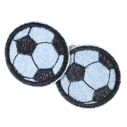 Flickli - the patch! round with soccer on light blue denim for boys