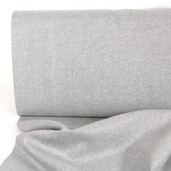 Metallic glänzend Stoff Baumwolle Leinen Essex Yarn Dyed fog silber Lurex