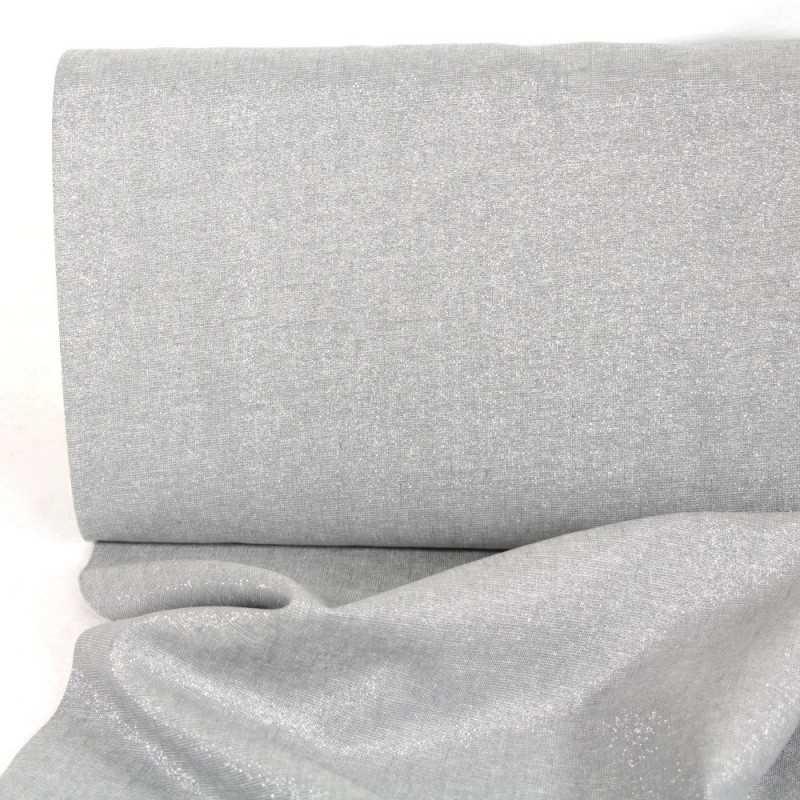 lurex fabrics cotton linen blend silver Essex Yarn Dyed Celstial 190g/m² fog