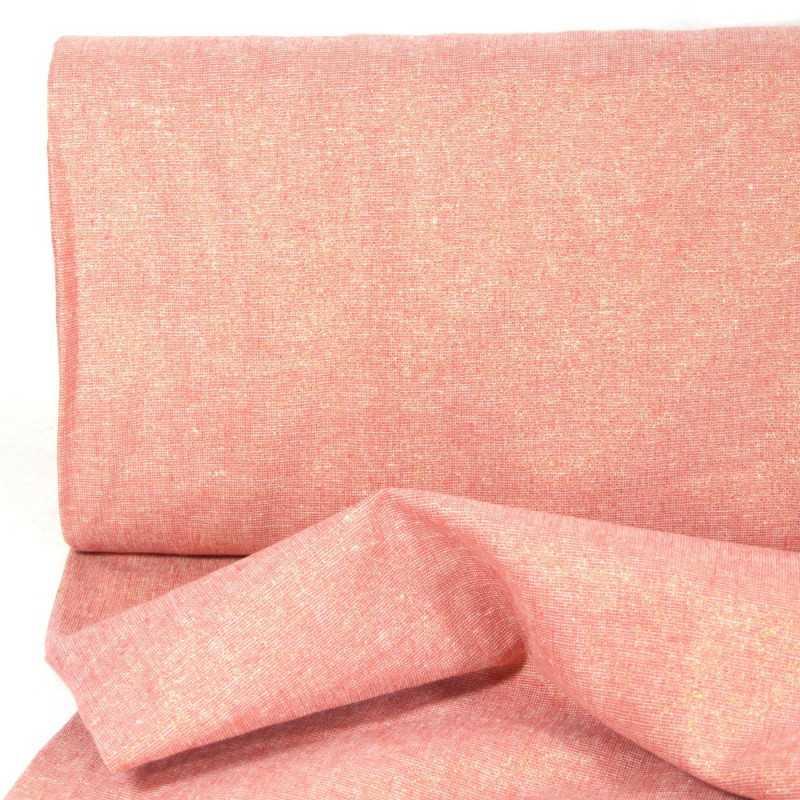 strong lurex fabrics cotton linen blend Essex Yarn Dyed dusty rose 190g/m²