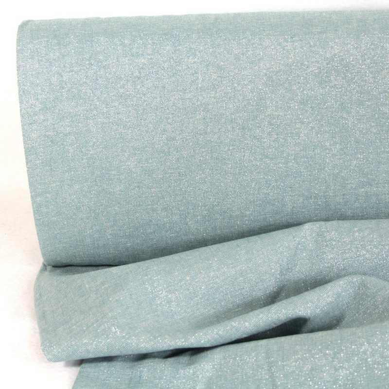 lurex fabrics light blue cotton linen blend Essex Yarn Dyed water 190g/m²