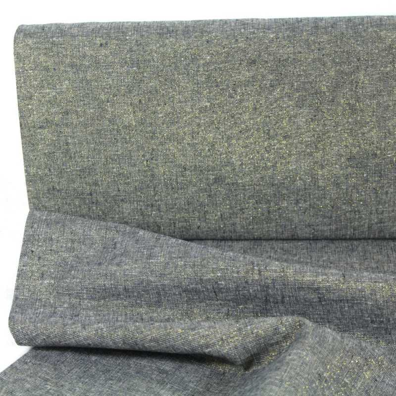strong lurex fabrics cotton linen blend Essex Yarn Dyed blue 190g/m² dark blue