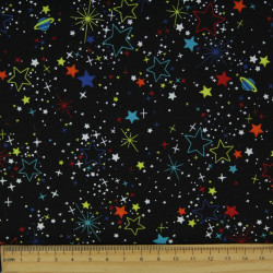 Japan Baumwollstoff bunte Sterne Stoffe schwarz cosmo fabrics