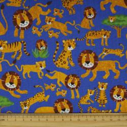 Stoffe Löwen und Tiger japanische cosmo Baumwollstoff Canvas blau Stoffe für Kinder