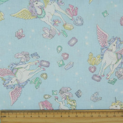 cosmo fabrics cotton unicorns diamonds clouds japanese design