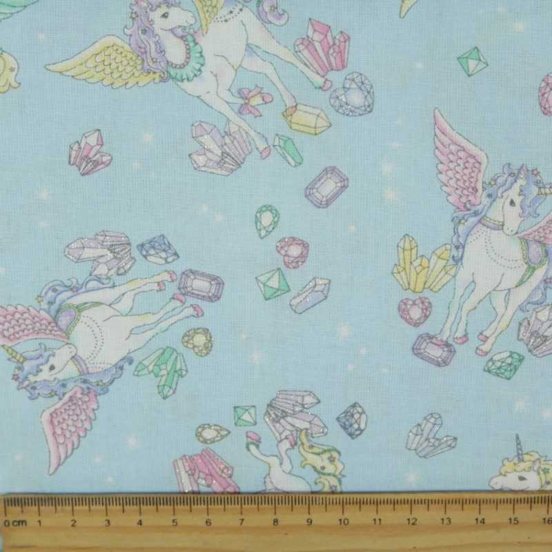 cosmo fabrics cotton unicorns diamonds clouds japanese design